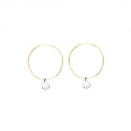 Minimalistische Ohrringe mit Herz Anhängern - bicolor: gold + silber