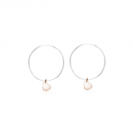 Minimalistic earrings with heart charms - bicolor: silver + rosegold