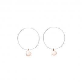 Minimalistische Ohrringe mit Herz Anhängern - bicolor: silber + roségold