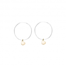 Minimalistic earrings with heart charms - bicolor: silber + gold