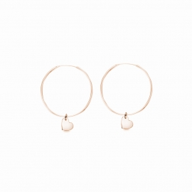 Minimalistic earrings with heart charms - rosegold