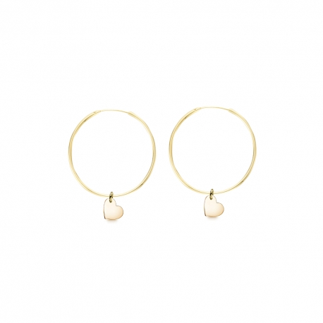 Minimalistic earrings with heart charms - gold