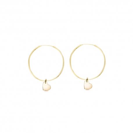 Minimalistische Ohrringe mit Herz Anhängern - gold