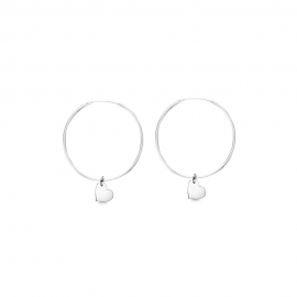 Minimalistic earrings with heart charms - silver