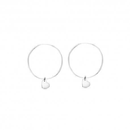 Minimalistische Ohrringe mit Herz Anhängern - Silber