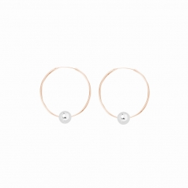 Minimalistic earrings with balls - bicolor: rosegold + silver
