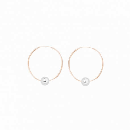 Minimalistische Ohrringe mit Kugeln - bicolor: roségold + silber