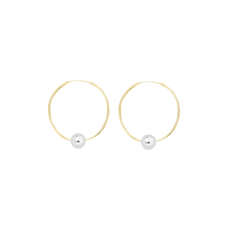 Minimalistic earrings with balls - bicolor: gold + silver