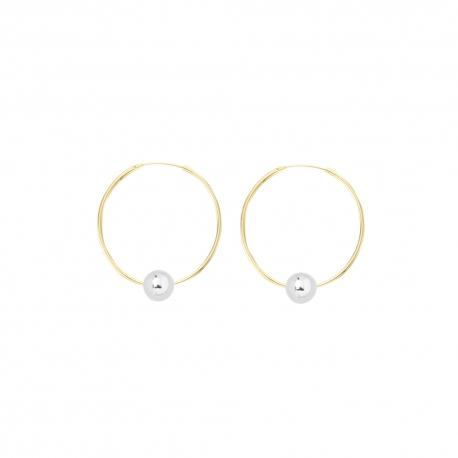 Minimalistische Ohrringe mit Kugeln - bicolor: gold + silber