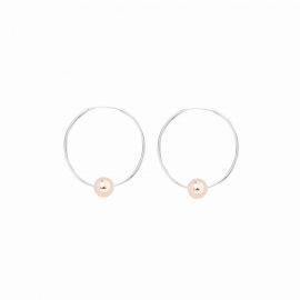 Minimalistische Ohrringe mit Kugeln - bicolor: silber + roségold