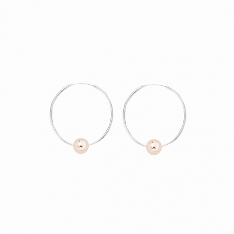 Minimalistic earrings with balls - bicolor: silver + rosegold