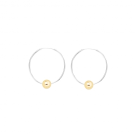Minimalistic earrings with balls - bicolor: silver + gold