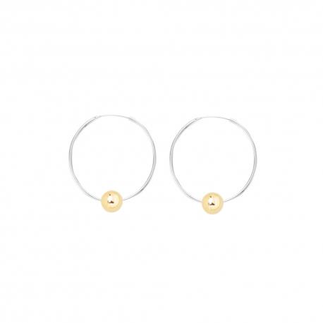 Minimalistische Ohrringe mit Kugeln - bicolor: silber + gold