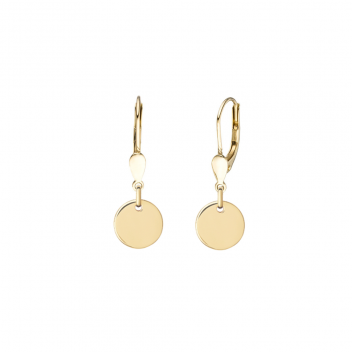 Minimalistic ear hangers with round pendants - rosegold