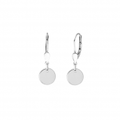 Minimalistic ear hangers with round pendants - silver
