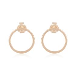 Minimalistic, geometric circle ear studs - rosegold