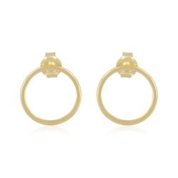 Minimalistic, geometirc cirlce ear studs - gold