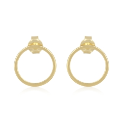 Minimalistic, geometric circle ear studs - gold