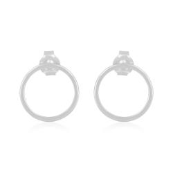 Minimalistic, geometric circle ear studs - silver