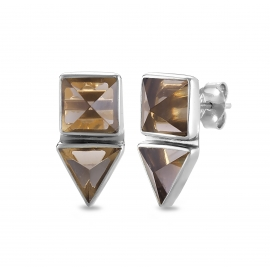 Geometrical ear studs with smoky quartz  - silver