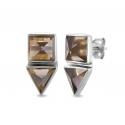 Geometrische Ohrstecker mit Rauchquarz aus Silber