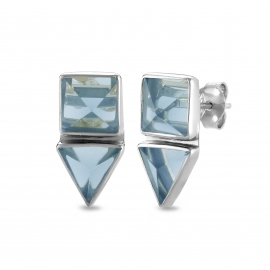 Geometrical ear studs with blue quartz - silver