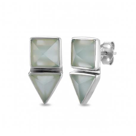 Geometrical ear studs with aqua chalcedony in silver