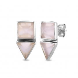 Geometrical ear studs with pink chalcedony in silver