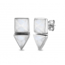 Geometrical ear studs with white moonstone - silver
