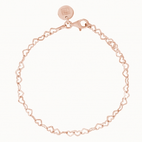 BRACELET WITH HEARTS - ROSE GOLD