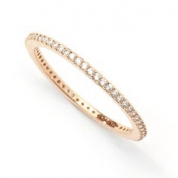 ALLIANCE RING WITH ZIRCONIA - ROSE GOLD