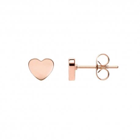 FILIGREE EAR STUDS IN HEART DESIGN - ROSE GOLD