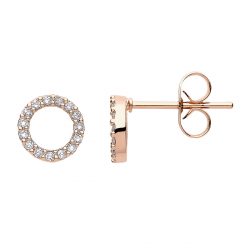 FILIGREE ROUND EAR STUDS IN CIRCLE DESIGN WITH ZIRCONIA - ROSE GOLD