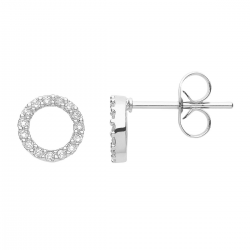 FILIGREE ROUND EAR STUDS IN CIRCLE DESIGN WITH ZIRCONIA - SILVER