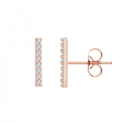 TINY BAR EAR STUDS WITH ZIRCONIA - ROSE GOLD