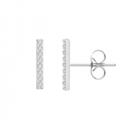 TINY BAR EAR STUDS WITH ZIRCONIA - SILVER