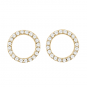 MINIMALISTIC CIRCLE EAR STUD WITH ZIRCONIA - GOLD