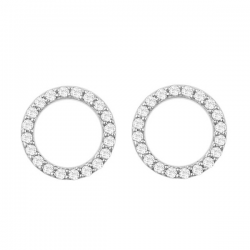 MINIMALISTIC CIRCLE EAR STUD WITH ZIRCONIA - SILVER