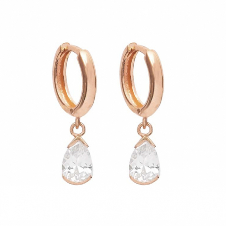EAR HANGER WITH ZIRCONIA DROPS - ROSE GOLD