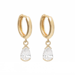 EAR HANGER WITH ZIRCONIA DROPS - GOLD