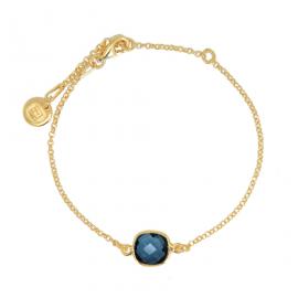 Armband mit quadratischem, blauem Quarz - vergoldet