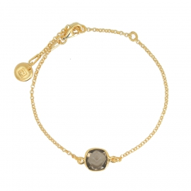 Bracelet with smoky quartz in gold plated silver