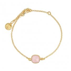 Armband mit quadratischem, rosa Chalcedon - vergoldet