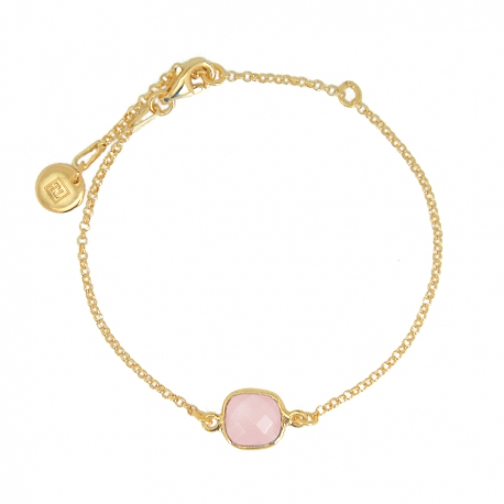 Bracelet with pink chalcedony in gold plated silver