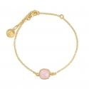 Armband mit rosa Chalcedon aus vergoldetem Silber