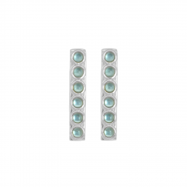 Elongated ear studs with blue quartz in silver