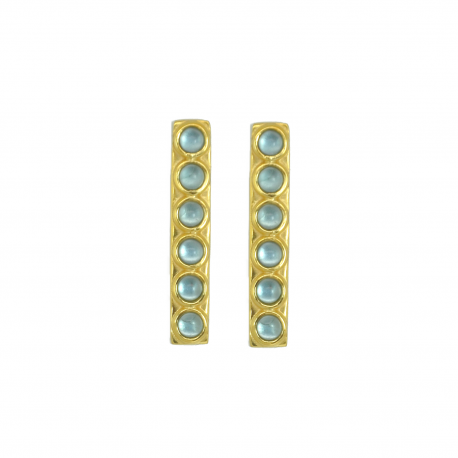 Elongated ear studs with blue quartz in gold plated silver