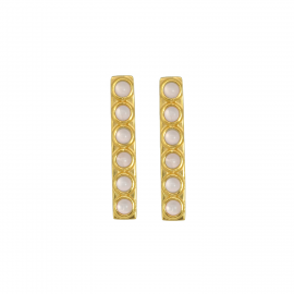 Elongated ear studs with pink chalcedony in gold plated silver