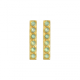Elongated ear studs with aqua chalcedony in gold plated silver