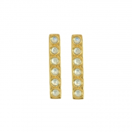 Elongated ear studs with moonstone in gold plated silver